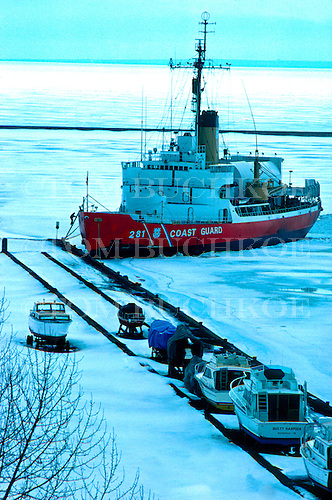 USCGC Westwind (WAGB-281) visits Marquette Michigan around 1977. It was decommissioned by the Coast Guard in 1988.