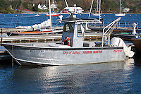 The Harbor Master's boat anchored at the public landing in Belfast, Maine.