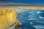 Exuberant person celebrates the coming together of desert and  ocean on the cliffs over Playa Supay in the Paracas National Reserve, a subtropical coastal desert in Peru.