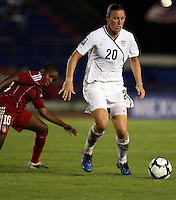 Abby Wambach of United States and Wisin Dolce of Haiti. The US Women's National Team defeated Haiti 5-0 during the CONCACAF Women's World Cup Qualifying tournament at Estadio Quintana Roo in Cancun, Mexico on October 28th, 2010.