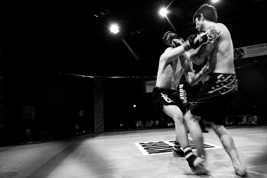 Ross Mayne evades a punch from opponent George Thomas as the two fight at Kore MMA 3. Ross went on to lose the fight in third round via submission.