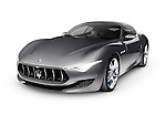 Gray 2015 Maserati Alfieri concept luxury car approved for production in 2016. Isolated on white background with clipping path.