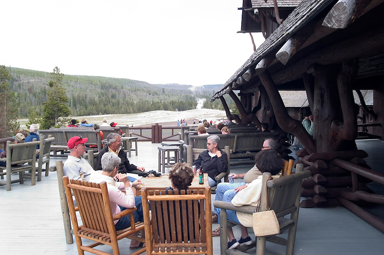 WY: Wyoming; Yellowstone National Park:.At Old Faithful Inn..Photo #: yellow1153..Photo copyright Lee Foster, 510/549-2202, lee@fostertravel.com, www.fostertravel.com..