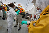 Tuomas Heikkila, boat driver from the Greenpeace ship Rainbow Warrior, undergoes radiation contamination checks (conducted by radiation safety advsior Ike Teuling), after his return to the ship, after being at sea collecting sea water and seaweed samples to monitor radiation contamination levels. As the ship sails up the eastern coast of Japan, in the vicinity of Fukushima, in Japan, Tuesday 3rd May 2011.