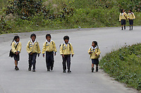 School children return home on the Interoceanic Highway