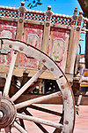 Painted wagon at Jackalope, a store established in 1976 by Darby McQuade, that sells international folk art, pottery, furniture, and hand made furniture and includes a cafe, garden, animal barn, and prairie dog village