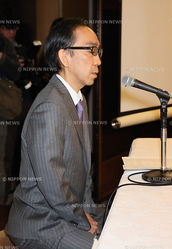 "Takashi Niigaki attends a press conference in Tokyo Japan on February 6th, 2014. Niigaki explained his 18 year role as a ghostwriter for celebrated ""composer"" Mamoru Samuragochi. Samuragochi was nicknamed the new Beethoven and supposedly deaf. Niigaki cast doubt on Samuragochi's hearing impediment and said that he had written more than 20 pieces that Samuragochi had taken sole credit for. (Photo by Motoo Naka/AFLO)"