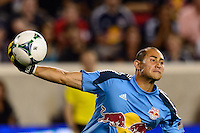 New York Red Bulls goalkeeper Luis Robles (31). The New York Red Bulls and the Philadelphia Union played to a 0-0 tie during a Major League Soccer (MLS) match at Red Bull Arena in Harrison, NJ, on August 17, 2013.