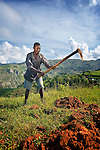 Benjamin Isier uses a hoe to prepare his field for planting high in the mountains near Les Palmes, a rural village in southern Haiti where the Lutheran World Federation has been working with survivors of the 2010 earthquake, along with other residents, to experience more abundant life. Haiti's denuded hillsides have left residents throughout the island nation more vulnerable to flooding and landslides.