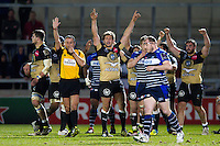 Montpellier players celebrate at the final whistle. European Rugby Challenge Cup quarter final, between Sale Sharks and Montpellier on April 8, 2016 at the AJ Bell Stadium in Manchester, England. Photo by: Patrick Khachfe / JMP