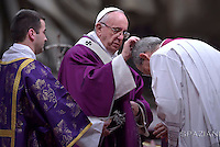 Pope Benedict XVI leads the mass for Ash Wednesday, opening Lent, the forty-day period of abstinence and deprivation for the Christians, before the Holy Week and Easter on February,10, 2016