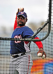 6 March 2009: Washington Nationals' third base coach Marquis Grissom throws batting practice prior to a Spring Training game against the Baltimore Orioles at Fort Lauderdale Stadium in Fort Lauderdale, Florida. The Orioles defeated the Nationals 6-2 in the Grapefruit League matchup. Mandatory Photo Credit: Ed Wolfstein Photo