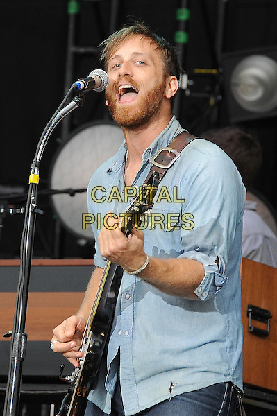 The Black Keys - Dan Auerbach.play live during Leeds Festival 2012, Bramham Park, Leeds, England..24th August 2012.on stage in concert live gig performance performing music half length blue shirt beard facial hair singing guitar.CAP/BEL.©Tom Belcher/Capital Pictures.