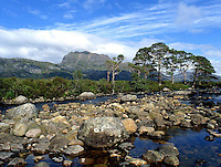 Ben Slioch from the bridge of Grudie, Loch Maree, Wester Ross, N/W Highlands.