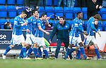 St Johnstone v Motherwell&hellip;20.02.16   SPFL   McDiarmid Park, Perth<br />Tommy Wright tries to get his players organised after Tam Scobbie celebrated his goal<br />Picture by Graeme Hart.<br />Copyright Perthshire Picture Agency<br />Tel: 01738 623350  Mobile: 07990 594431