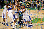 31 MAR 2012:  The University of Kentucky team celebrates their victory over the University of Kansas in the championship game of the 2012 NCAA Men's Division I Basketball Championship Final Four held at the Mercedes-Benz Superdome hosted by Tulane University in New Orleans, LA. Kentucky defeated Kansas 67-59 to win the national title. Brett Wilhelm/NCAA Photos