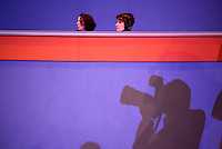 Delegates and photographers watch as Prime Minister and Labour Party leader Gordon Brown gives a speech at the Royal College of Nurses conference in Bournemouth.