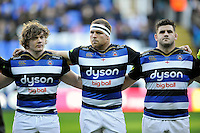 Nick Auterac, Henry Thomas and Rob Webber of Bath Rugby line-up prior to the match. Aviva Premiership match, between London Irish and Bath Rugby on November 7, 2015 at the Madejski Stadium in Reading, England. Photo by: Patrick Khachfe / Onside Images