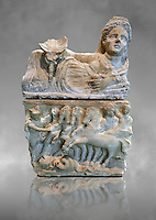 150-27 B.C Etruscan Hellenistic style cinerary urn,  National Archaeological Museum Florence, Italy , grey art background