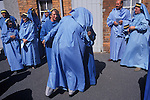 Cornish Bards dressed in blue at the annually for  Gorsedd Ceremony Marazion Cornwall UK Gorseth Kernow (Cornish Gorsedd) which is a non-political Cornish organisation, which exists to maintain the national Celtic spirit of Cornwall in Britain. The Gorseth Kernow supports the revival of the Cornish language, encourages the study of the arts and history and everything Cornish.  Bardships are awarded for momentous works on Cornish culture.