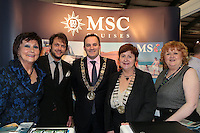 NO FEE PICTURES.25/1/13 Maureen Ledwith, Director Holiday World, Lord Mayor of Dublin is Naoise Ó Muirí and Clare Dunne, President ITAA with Lorenzo Diamantini and Carmel Allward at the Holiday World Show at the RDS, Dublin. Picture:Arthur Carron/Collins