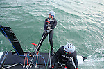 Armel Le Cl&eacute;ac'h and Kevin Escoffier from the Banque Populaire Sailing Team and the Flying Phantom.<br />The Flying Phantom is a new generation of foiling catamarans design by Martin Fisher.