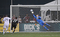 D.C. United goalkeeper Joe Willis (31) goes up to make a save. D.C. United defeated The Vancouver Whitecaps FC 4-0 at RFK Stadium, Saturday August 13 , 2011.