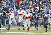 New York Giants kick returner #29 Chad Morton returned a First quarter kickoff the length of the field but had it called back on a holding flag at Quest Field in Seattle, WA.