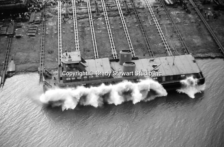 Pittsburgh PA: View of the Dravo shipyard on Neville Island that built tugs and towboats - 1964.  The shipyard started operation in 1919 and closed in 1983. <br />