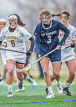 25 April 2015: University of New Hampshire Wildcat Midfielder Laura Puccia, a Senior from Fairport, NY, in action against the University of Vermont Catamounts at Virtue Field in Burlington, Vermont. The Lady Catamounts defeated the Lady Wildcats 12-10 in the final game of the season, advancing to the America East playoffs. Mandatory Credit: Ed Wolfstein Photo *** RAW (NEF) Image File Available ***