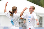 03 November 2010: UNC's Emmalie Pfankuch (40) celebrates her goal with Meghan Klingenberg (4). The University of North Carolina Tar Heels defeated the Virginia Tech Hokies 4-2 at Koka Booth Stadium at WakeMed Soccer Park in Cary, North Carolina in an ACC Women's Soccer Tournament Quarterfinal game.
