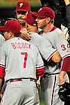 27 September 2010: Philadelphia Phillies' pitcher Roy Halladay celebrates with teammates after a complete-game division-clinching shutout against the Washington Nationals at Nationals Park in Washington, DC. With an 8-0 shutout win, the Philles clinched the National League Eastern Division Title. Mandatory Credit: Ed Wolfstein Photo