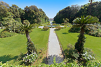 The garden of the Bourbon Kings of Naples Royal Palace of Caserta, Italy, looking towards the palace. A UNESCO World Heritage Site