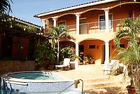 Interior courtyard of the Posada de Don Juan hotel in the Spanish colonial town of Gracias, Honduras.