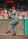 23 May 2015: Philadelphia Phillies pitcher Justin De Fratus on the mound in a non-closing situation against the Washington Nationals at Nationals Park in Washington, DC. The Phillies defeated the Nationals 8-1 in the second game of their 3-game weekend series. Mandatory Credit: Ed Wolfstein Photo *** RAW (NEF) Image File Available ***