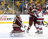 Parker Milner (BC - 35), Isaac MacLeod (BC - 7), Conor Morrison (Harvard - 38) - The Boston College Eagles defeated the Harvard University Crimson 4-1 in the opening round of the 2013 Beanpot tournament on Monday, February 4, 2013, at TD Garden in Boston, Massachusetts.
