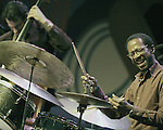 Brian Blade plays drums with the Wayne Shorter Quartet at the 2014 Monterey Jazz Festival.