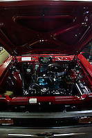 Reinholds, Pennsylvania, February 10, 2015 - A view of the engine of a 1971 Gremlin Base Model in the garage of Brian Moyer. Moyer fully restored it over 20 years ago. <br /> <br /> Moyer owns 16 AMC Gremlins. The Gremlin was introduced on April Fools Day (April 1) in 1970 featuring a shortened Hornet body with a Kammback tail and was manufactured in the US via AMC and in Mexico via AMC's subsidiary VAM. It's lifecycle ended in 1978 when it was replaced by the AMC Spirit. Moyer became interested as a kid when he saw the early Gremlin commercials in 1970. His first car was a Gremlin and he has never not owned one. Today he has arguably the most unique collection of Gremlins in the world, including several that are one-of-a kind models. <br /> <br /> CREDIT: Daryl Peveto for The Wall Street Journal<br /> Photo Assignment ID: 36892 <br /> Slug: MYRIDE_Gremlin