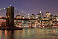 Brooklyn Bridge, from Brooklyn Bridge Park, Main Street Section, Manhattan, Brooklyn, New York City, New York, USA
