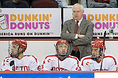 Joe Pereira (BU - 6), Nick Bonino (BU - 13), Jack Parker (BU - Head Coach), Jason Lawrence (BU - 21) - The Boston University Terriers defeated the University of Maine Black Bears 1-0 (OT) on Saturday, February 16, 2008 at Agganis Arena in Boston, Massachusetts.