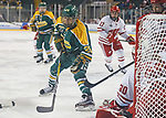 ST CHARLES, MO - MARCH 19:  Rhyen McGill (25) of the Clarkson Golden Knights sets up in front of the Wisconsin goal during the Division I Women's Ice Hockey Championship held at The Family Arena on March 19, 2017 in St Charles, Missouri. Clarkson defeated Wisconsin 3-0 to win the national championship. (Photo by Mark Buckner/NCAA Photos via Getty Images)