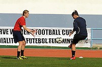 US Conditioning Coach Dawn Scott trains reserve goalkeeper Jillian Loyden. The USWNT defeated Iceland (2-0) at Vila Real Sto. Antonio in their opener of the 2010 Algarve Cup on February 24, 2010.