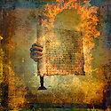 Hand holding a burning scroll. Photo based illustration.
