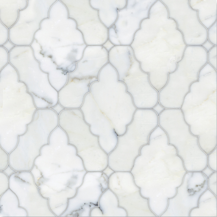 Ganesha, a natural stone waterjet mosaic shown in polished Calacatta Tia, is part of the Silk Road Collection by Sara Baldwin for New Ravenna Mosaics.