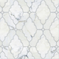 Ganesha, a natural stone waterjet mosaic shown in polished Calacatta Tia, is part of the Silk Road Collection by Sara Baldwin for New Ravenna Mosaics. <br />