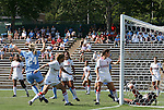 28 August 2011: North Carolina's Rachel Wood (24, left) celebrates scoring a goal. The University of North Carolina Tar Heels defeated the University of Houston Cougars 6-1 at Fetzer Field in Chapel Hill, North Carolina in an NCAA Women's Soccer game.