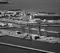 Aerial photograph large crane Hunters Point San Francisco California