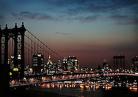 Manhattan Bridge & NYC skyline at dusk...photographed from a rooftop in DUMBO, Brooklyn