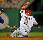 20 June 2008: Texas Rangers' shortstop Michael Young catches Washington Nationals' catcher Jesus Flores stealing during the first game of their 3-game series at Nationals Park in Washington, DC. The Nationals rallied in the eighth to tie, and then win 4-3 in the 14th inning of their inter-league matchup...Mandatory Photo Credit: Ed Wolfstein Photo
