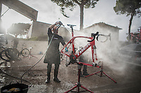 getting the bikes shiny & in proper working order again after a wet&muddy 11th Strade Bianche 2017
